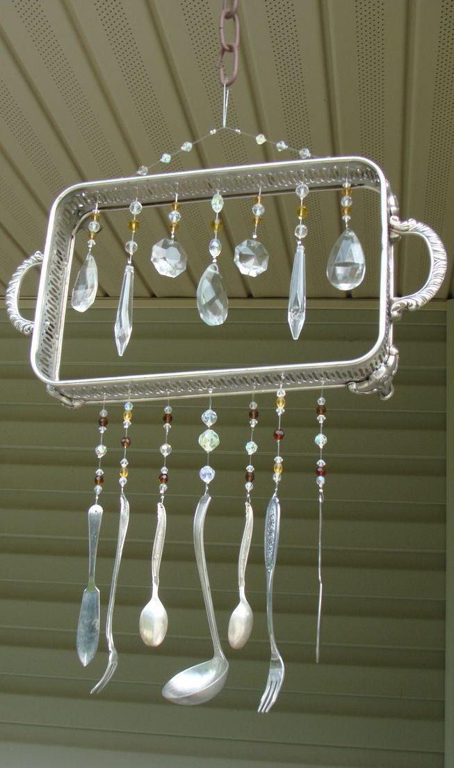 Diy idea vintage re purposed silverware wind chimes for How to make a windchime out of silverware