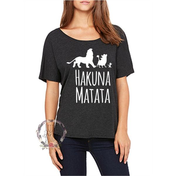 Disney Shirts Hakuna Matata Slouchy Tee Disney Lion King (440 MXN) ❤ liked on Polyvore featuring tops, t-shirts, black, women's clothing, short-sleeve shirt, off shoulder t shirt, pixies t shirt, lion shirt and lion t shirt
