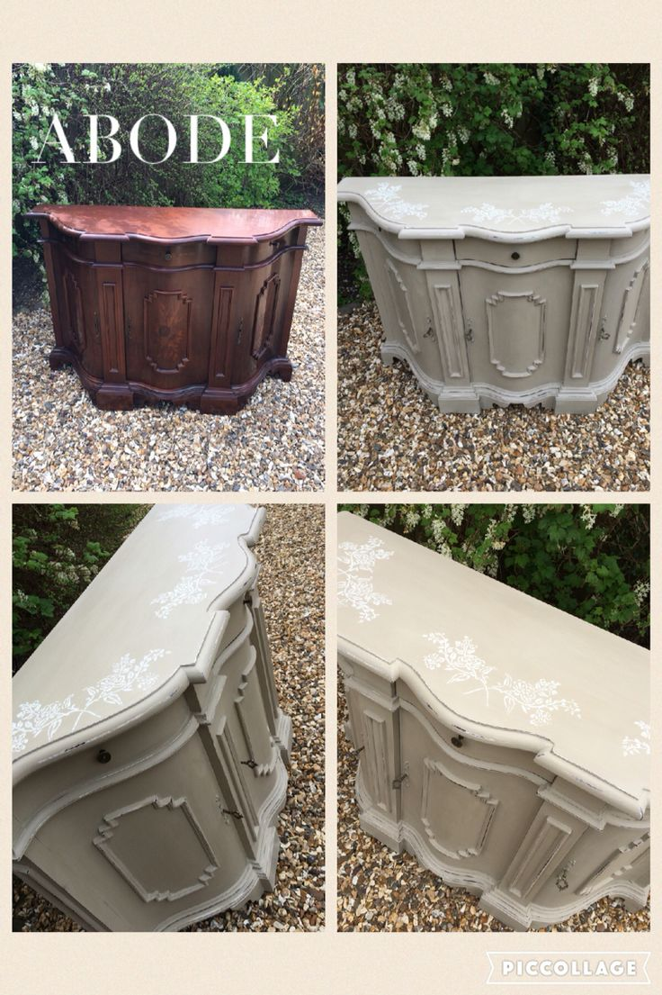 Before and after of an Italian sideboard painted on Annie Sloan chalk paint. Buy Annie Sloan Chalk Paint® from local stockist Brenda Brown @ Annex of paredown in Ann, Arbor
