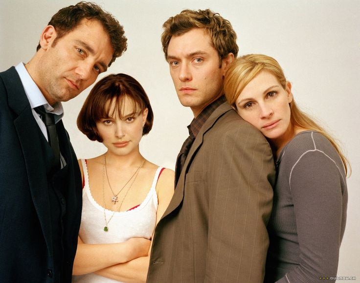 Julia Roberts, Jude Law, Natalie Portman & Clive Owen in Closer (2004) #films #movies #00s