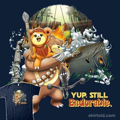 Yup, Still ENDORABLE | Shirtoid #chewbacca #endor #ewok #film #gaming #movie #pokemon #pokemongo #scifi #starwars #teddiursa #tentenorio #ursaring #videogame