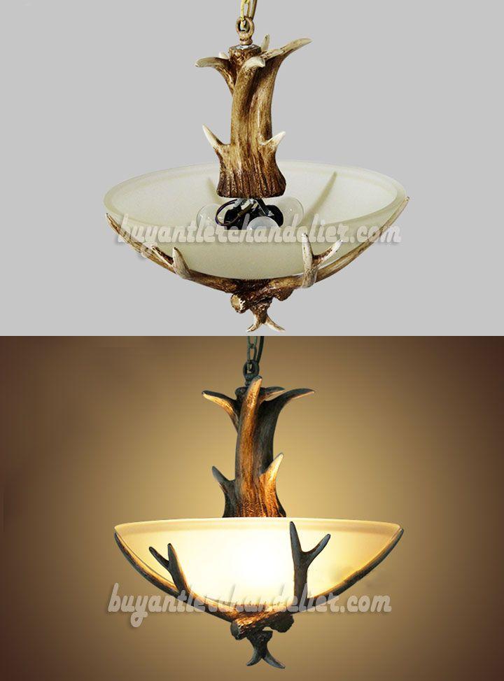 3 Cast Deer Antler Chandelier Semi Flush Three Ceiling Lights Rustic Style Lighting Fixtures