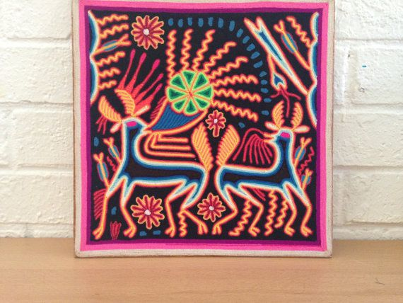 Handmade Mexican Beautiful Huichol Yarn Painting by OjoDeVenado