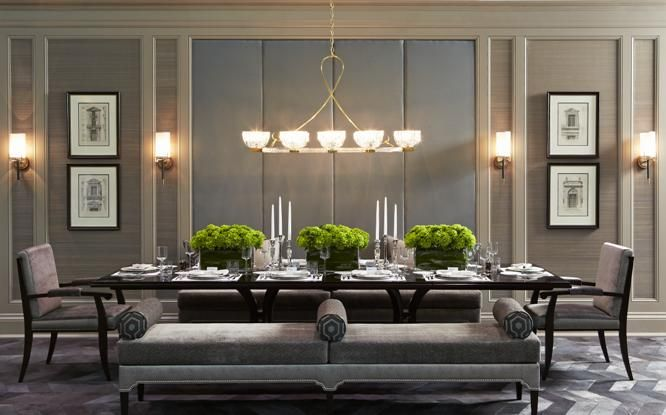 Dining Room - Sleek dining bench cleverly chosen, textured grass cloth covered walls, soft defused lighting, symmetrical styling....all beautiful. (re-pinned photo from Harvey Wise)