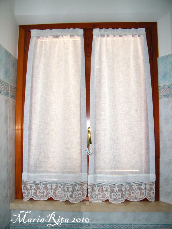 curtains for our bathroom with filet lace