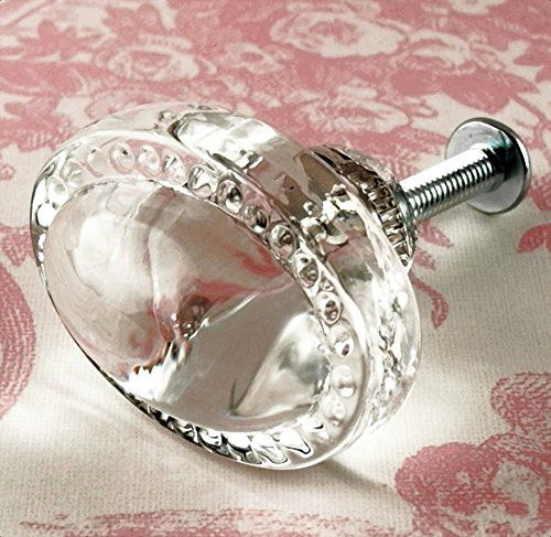 Vintage Clear Oval Glass Cabinet Knobs 1 Kitchen Drawer Pulls T21 Classic Shabby