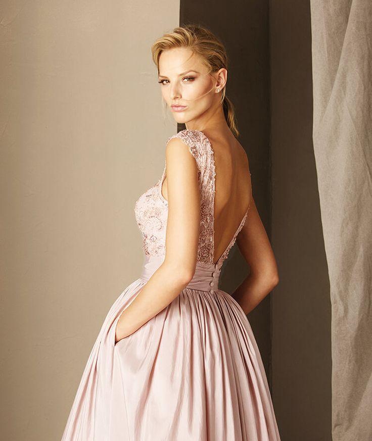 Pronovias > BINDU - Cocktail dress with a bateau neckline, gemstones, lace and tulle