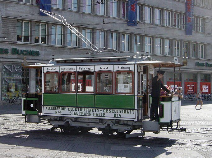 Historical tram in Halle an der Saale, Germany