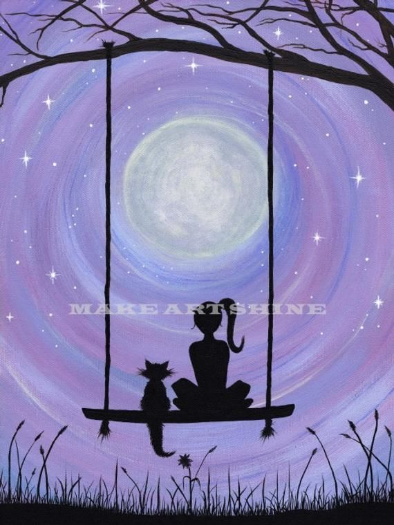 A Girl and her Cat sitting on a swing under the full moon (Print)