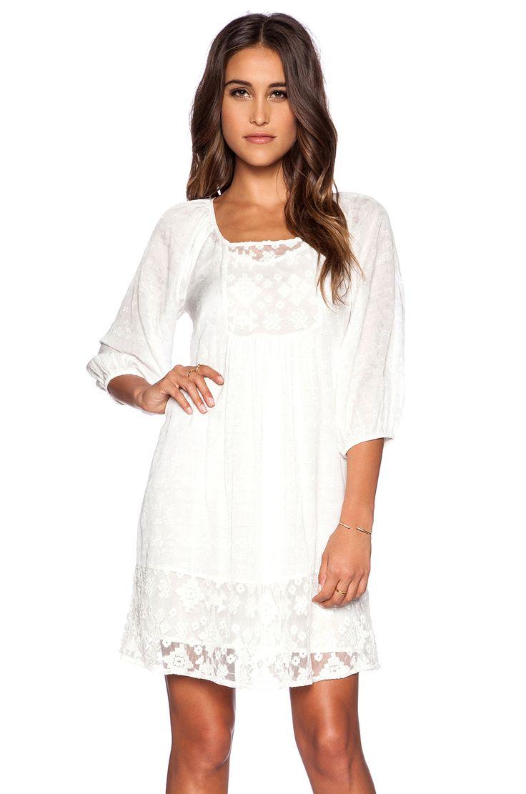 Velvet by Graham & Spencer Lace Damask Voile Jolecia Dress in White
