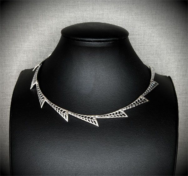 Silver Necklace - Geometric Leaves  #necklace #art #deco #silver #jewellery #leaves