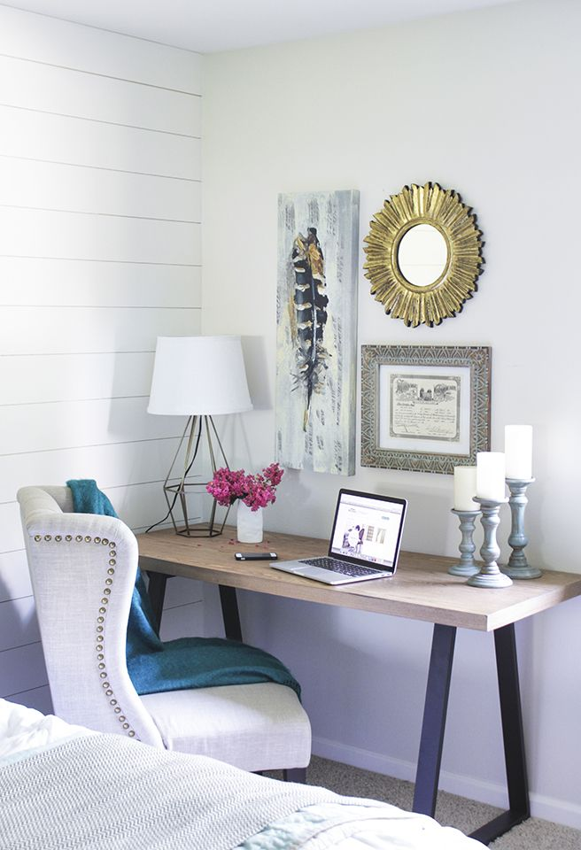 4 home office updates peep these bloggers tips - Desk In Bedroom Ideas