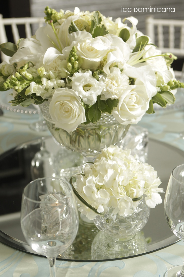 baptism decoration with white hydrangeas and roses