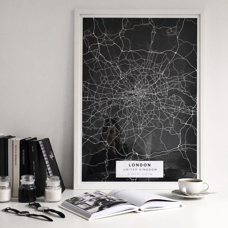 "Map poster of London, United Kingdom in ""Night"" theme. Print size 50 x 70 cm available at Mapiful.com"