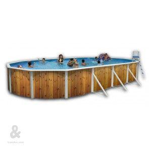 Piscina Toi Veta ovalada fabricada en acero, cubierta por una funda de polietileno de alta densidad y calidad fotográfica. Incluye escalera en acero inoxidable y sistema de filtración de arena. Disponible en diferentes medidas.