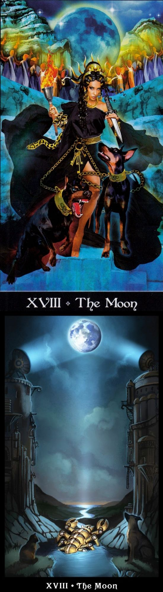 THE MOON: intuition and confusion (reverse). Apokalypsis Tarot deck and Steampunk Tarot deck: tarot decks, tarot cards online vs free on line tarot card reading. The best tarot reading and wiccan marvel. #halloweencostume #witchcraft #unicorn #theworld