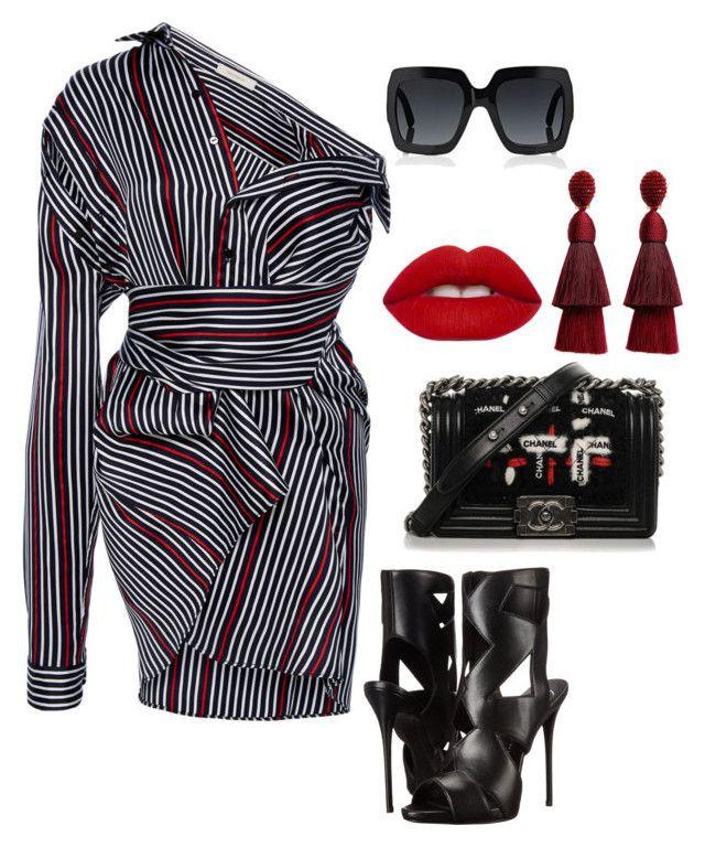 """Untitled #392"" by stylistrr on Polyvore featuring SemSem, Giuseppe Zanotti, Chanel, Lime Crime, Oscar de la Renta and Gucci"