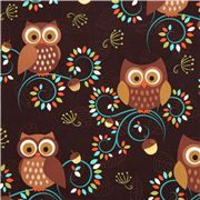 www.modes4u.com - Web shop with all kinds of owl fabrics, ships internationally. - cute brown owl fabric Michael Miller from the USA