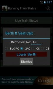Berth & Seat calculator - in Indian Train Status for Android