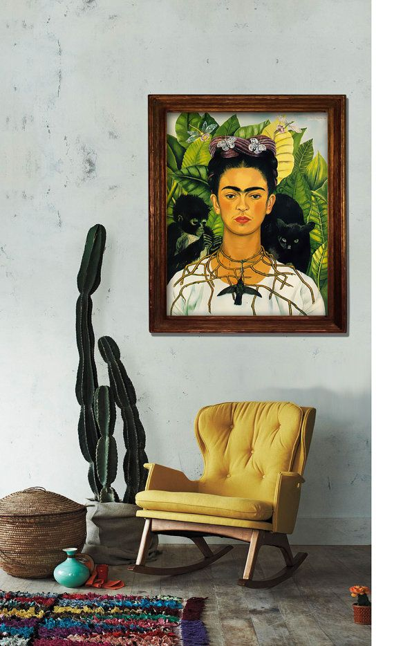 This listing is for a DIGITAL FILE of a vintage reproduction of a printable Frida Kahlo Self Portrait with Necklace of Thorns poster. Available in 5