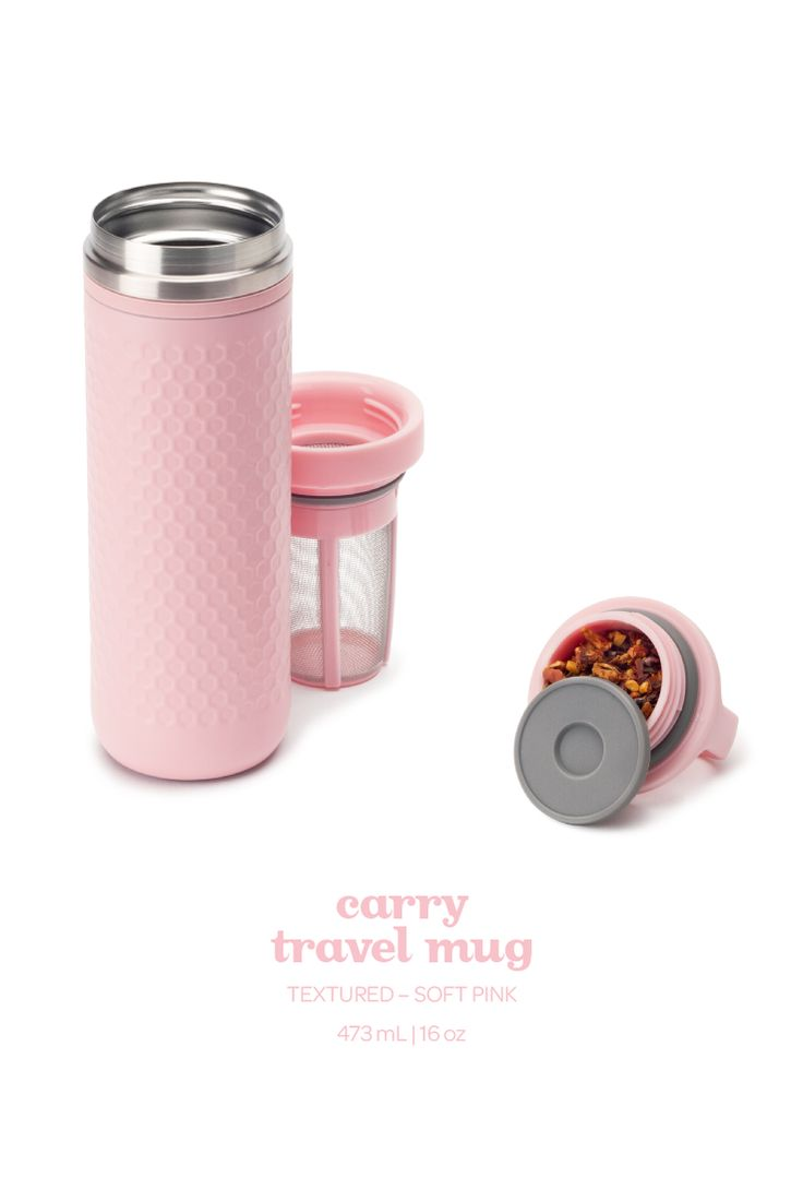 Think pink! An infuser mug with an elegant textured finish, in pretty soft pink.