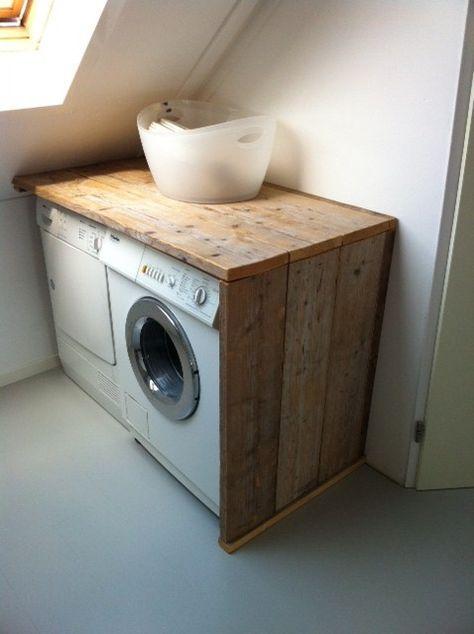 Lifs interieuradvies & styling www.lifs.nl Leuke ombouw van steigerhout voor de wasmachine en de droger!
