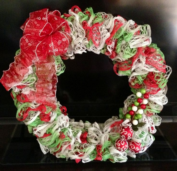 Christmas Wreath made from 3 skeins of starbella ruffle yarn.