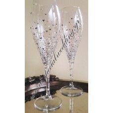 Ποτήρι σαμπάνιας γάμου ασημί VALENTINE Hand painted champagne wedding glass Silver Valentine