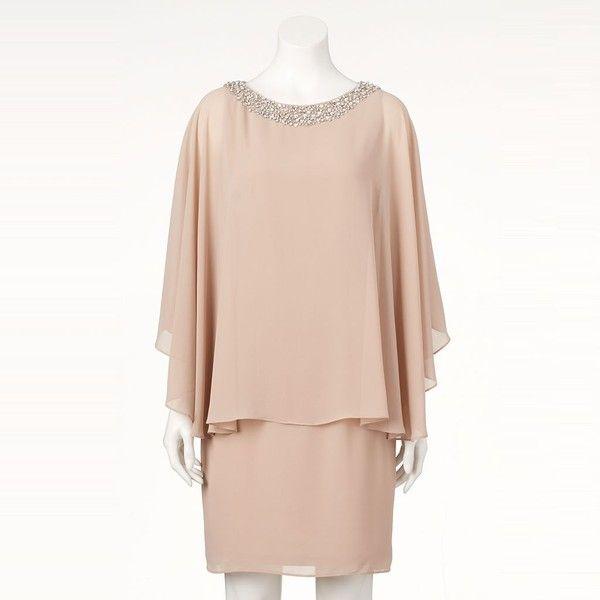 Women's Jessica Howard Embellished Capelet Sheath Dress ($140) ❤ liked on Polyvore featuring dresses, dark beige, formal wear dresses, chiffon dresses, chiffon capelet, pink sheath dress and chiffon formal dresses