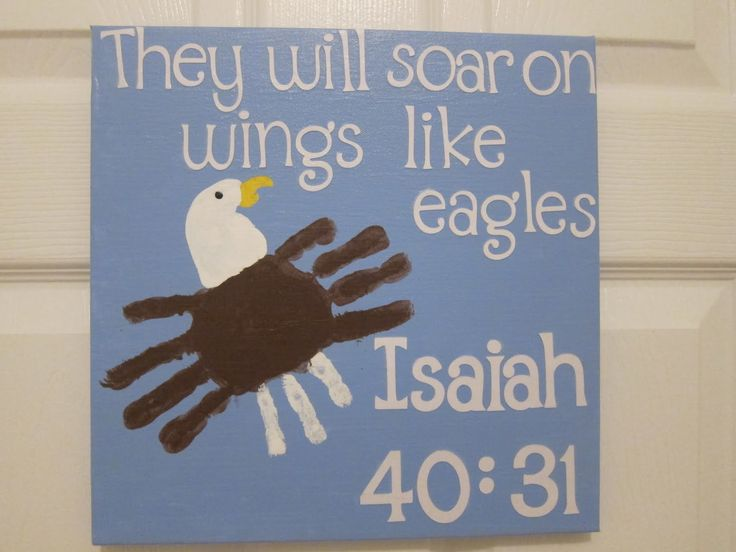 Scripture art the kids can do!: Sunday School, Idea, Handprint Art, Eagle Handprint, Eagles, Bible Verse, Kid, Crafts