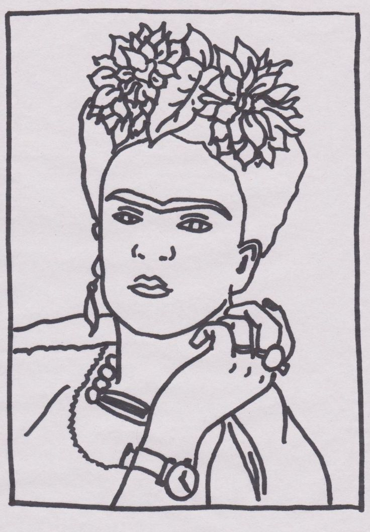frida kahlo coloring pages - frida kahlo self portrait with monkey free colouring pages