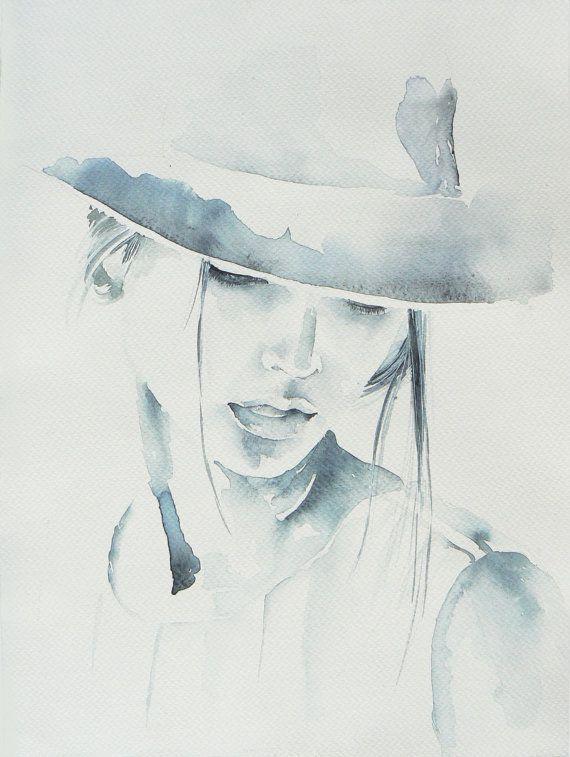 Woman in hat watercolor painting original by JuniperPaintings
