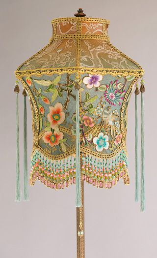 542 best antique lamp shades images on pinterest chandeliers victorian lampshade with antique chinese textiles aloadofball Images