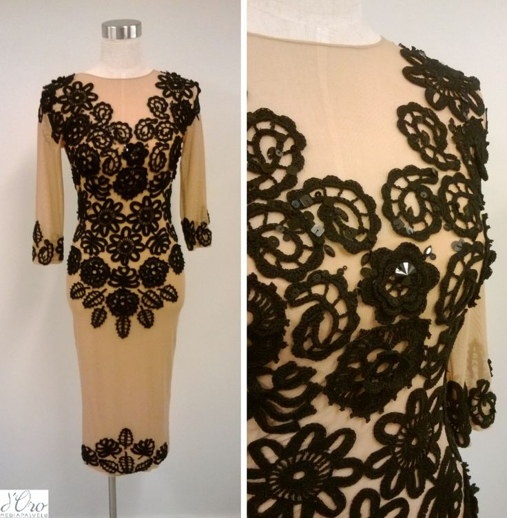 KV Couture, fashion designer Kristina Viirpalu, www.kvcouture.eu/... #kvcouture #kristinaviirpalu #black #beige #dress #knitted #lace #embroidery #details