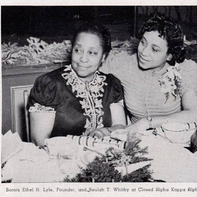 Founder of Alpha Kappa Alpha Sorority, Inc., Ethel H. Lyle and Beulah T. Whitby at a Closed Alpha Kappa Alpha Banquet - source: Alpha Kappa Alpha Sorority, Incorporated fb page
