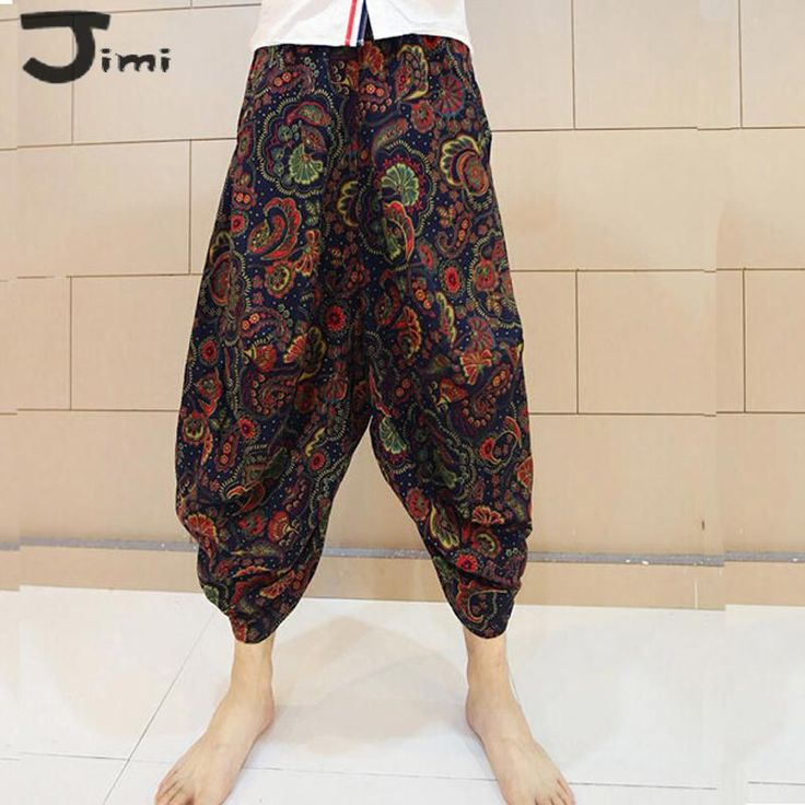 pants 2017 summer new mens pants retro joggers floral harem sweatpants mens linen cotton pants long trousers men pantalones