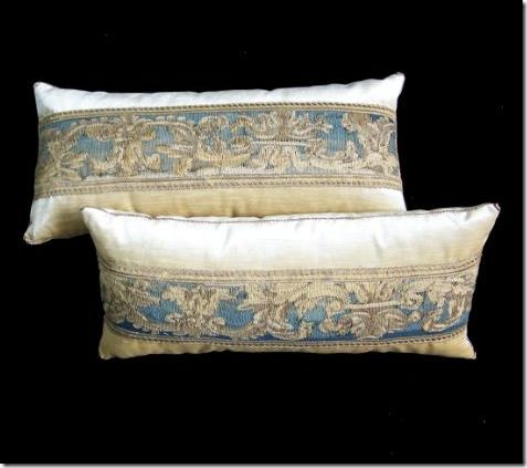 B Viz pillows by Rebecca Vizard. The most fabulous and gorgeous pillows ever. Silks, velvets and antique tapestries, embroideries and trim. Truly works of art.