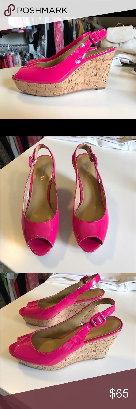 Nine West hot pink patent leather wedge Nine West, hot pink, patent leather, wedge, size 8m Nine West Shoes Wedges