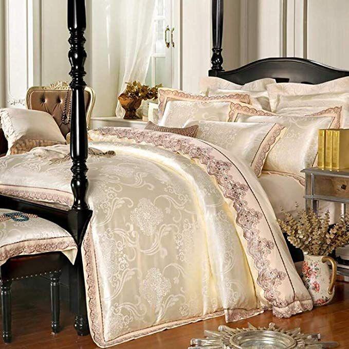 Amazon Com Satin Silk Duvet Cover Set Luxury Lace Fabric Jacquard Weave Quilt Cover Sets 4 Piece Bedding S Luxury Bedding Sets Luxury Bedding Silk Bedding Set