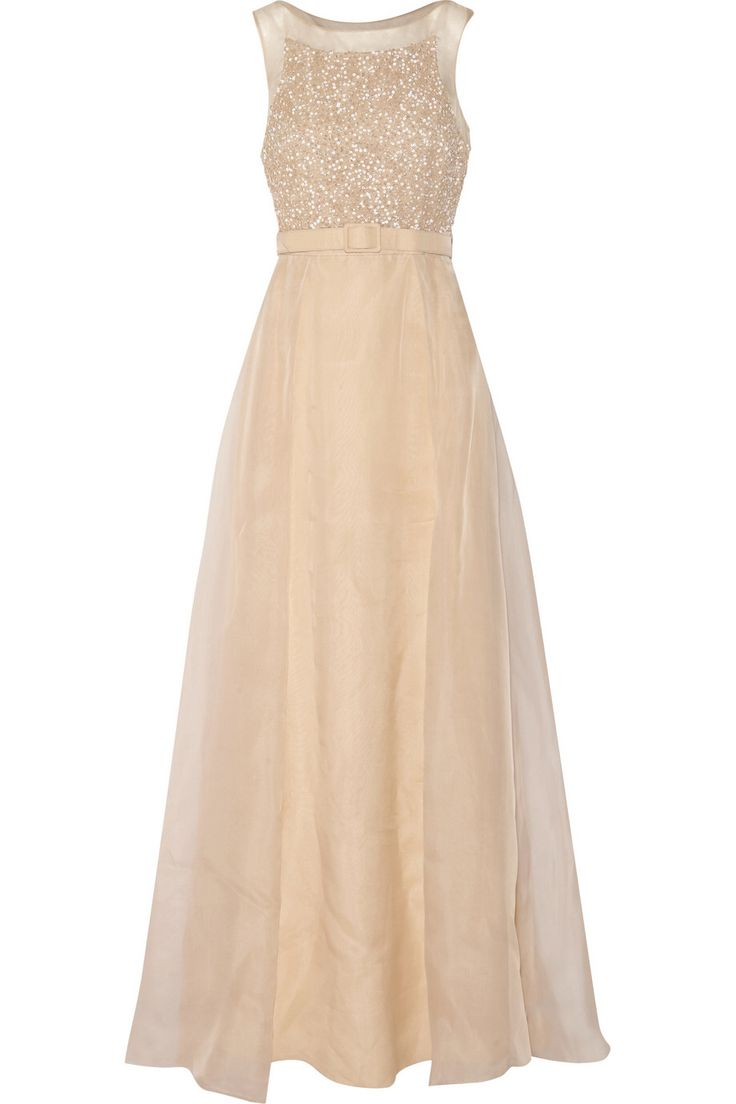BADGLEY MISCHKA Belted sequin-embellished silk-chiffon gown $436.50 http://www.theoutnet.com/products/639837