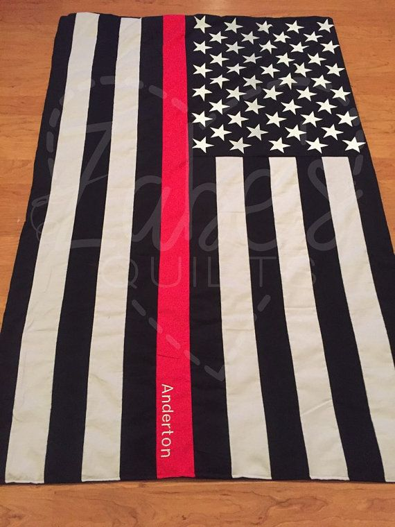 Firefighter Thin Red line throw/ blanket by ZabesQuilts on Etsy