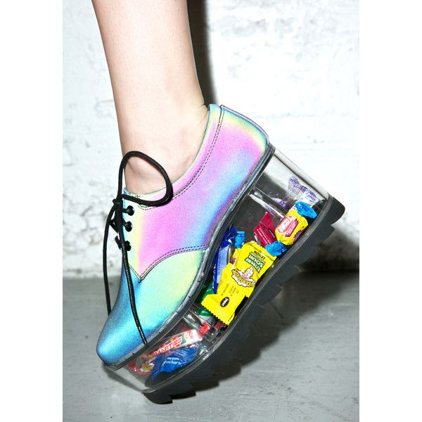 Y.R.U. Reflective 2091 Platform ($155) ❤ liked on Polyvore featuring shoes, platform oxfords, platform oxford shoes, laced shoes, holiday shoes and hologram shoes