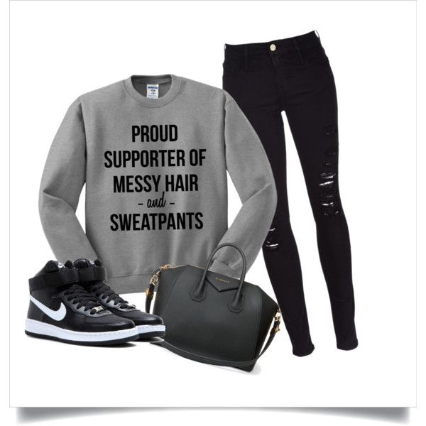 Airplane Travel outfit: Sweatpants No Sweatpants by encircled on Polyvore featuring Frame Denim, NIKE and Givenchy