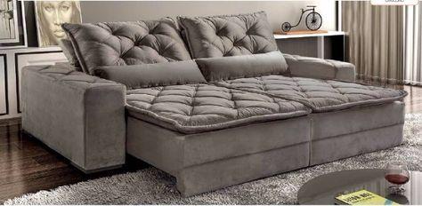 estofado sofá retratil reclinavel 4 lugares dallas