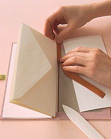 JASMINE: envelopes and book binding tape. This method of binding uses tape on the edge of paper that is closest to the spine, which connects it to the next piece of paper. Using this technique with envelopes is a very creative idea for collecting documents or ephemera which need to be handled separately, or often.