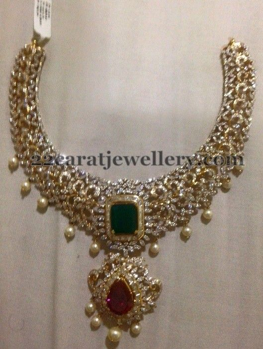 Jewellery Designs: Diamond Choker with Rubies