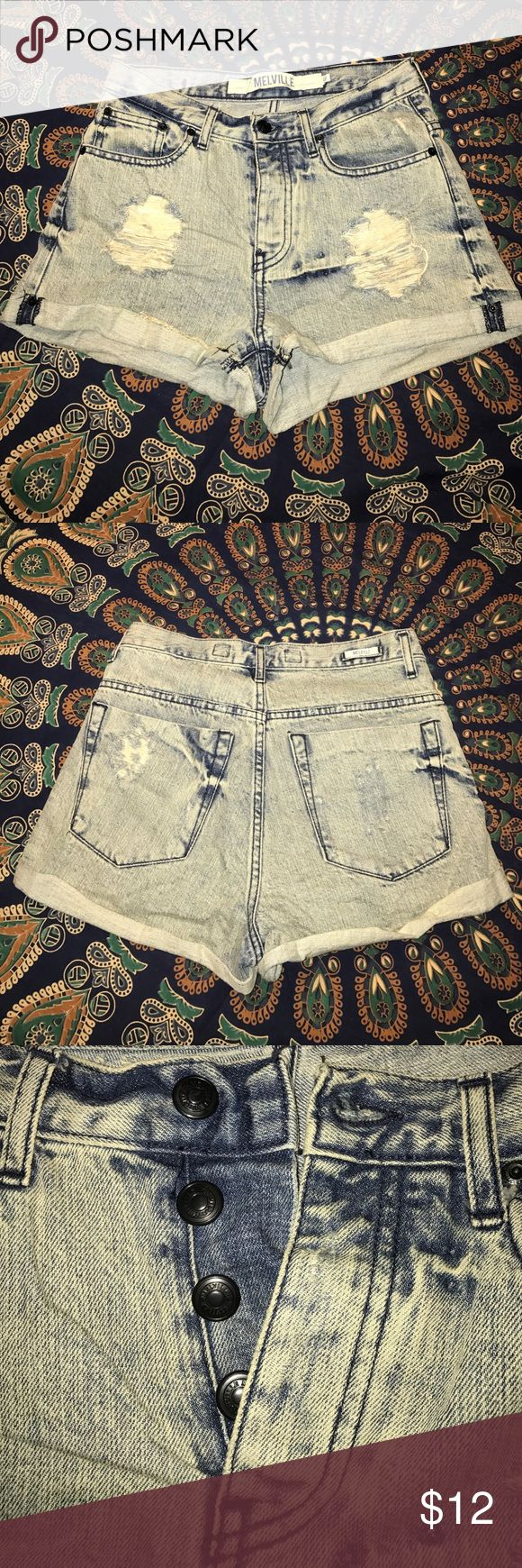 Button up high waisted shorts Distressed high waisted button up shorts. Brandy Melville Shorts Jean Shorts