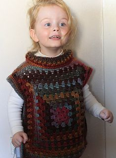 Granny Square Poncho - free adjustable size pattern by Jinty Lyons.