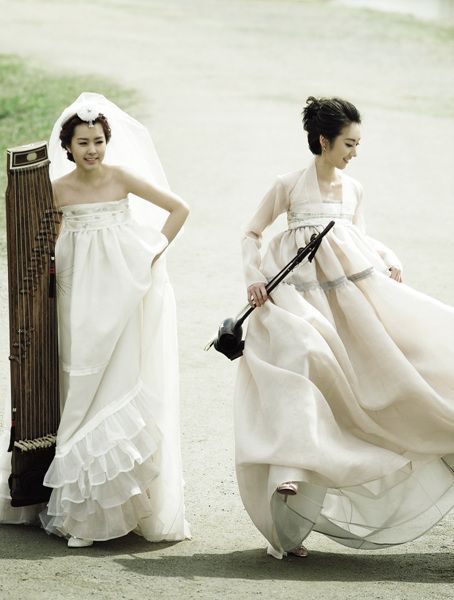 hanbok inspired wedding dress