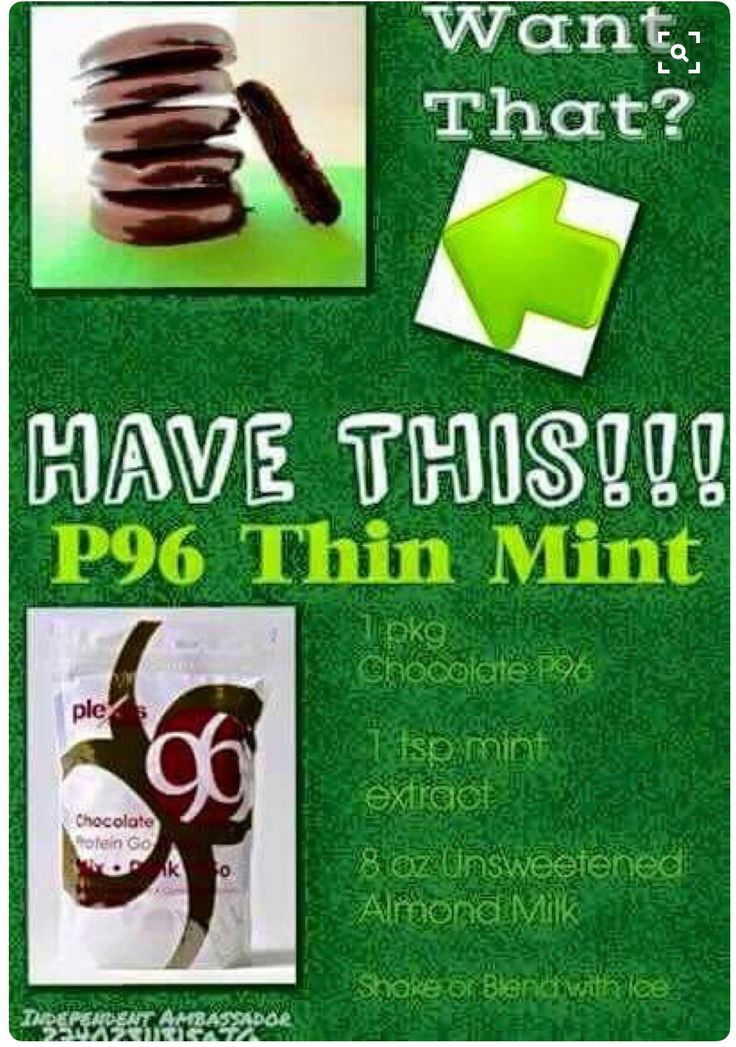 It's that cookie time again ladies and gents....here's the plexus way to have your thin mints!!! Plexus 96 is a meal replacement shake that comes in vanilla and chocolate. There are tons of recipes of shakes,drinks and even food prepared with Plexus 96!!
